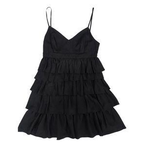 Barney's Co-op Black Ruffle Silk Cocktail Dress 8